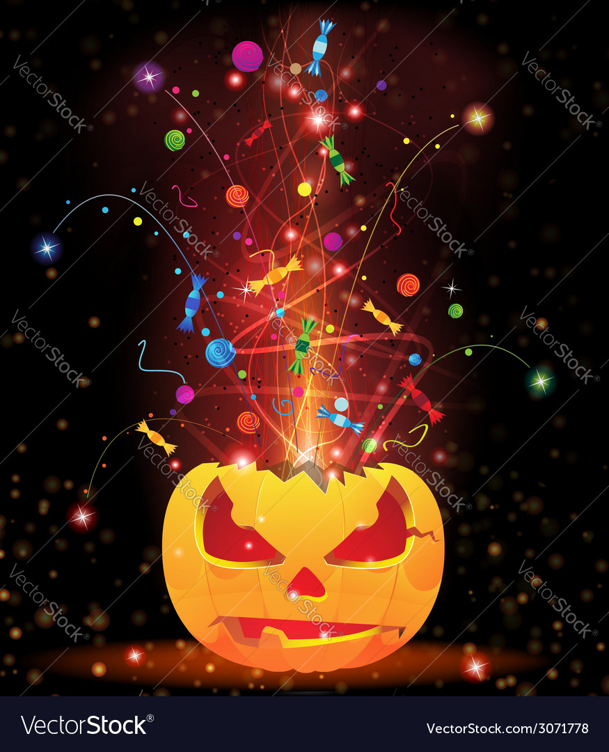 Pumpkin head and fireworks vector | Price: 1 Credit (USD $1)