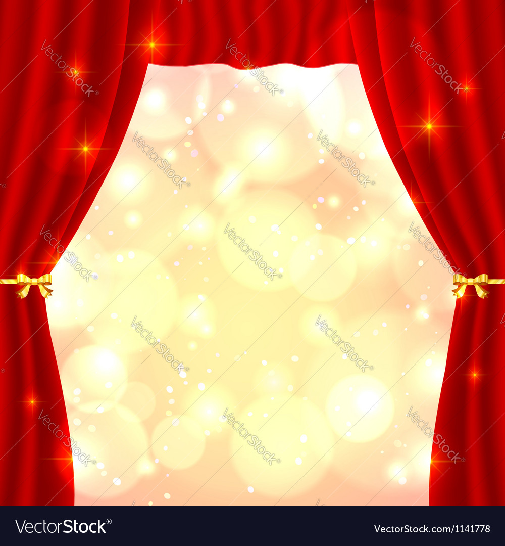 Red opened theatrical curtain vector | Price: 1 Credit (USD $1)