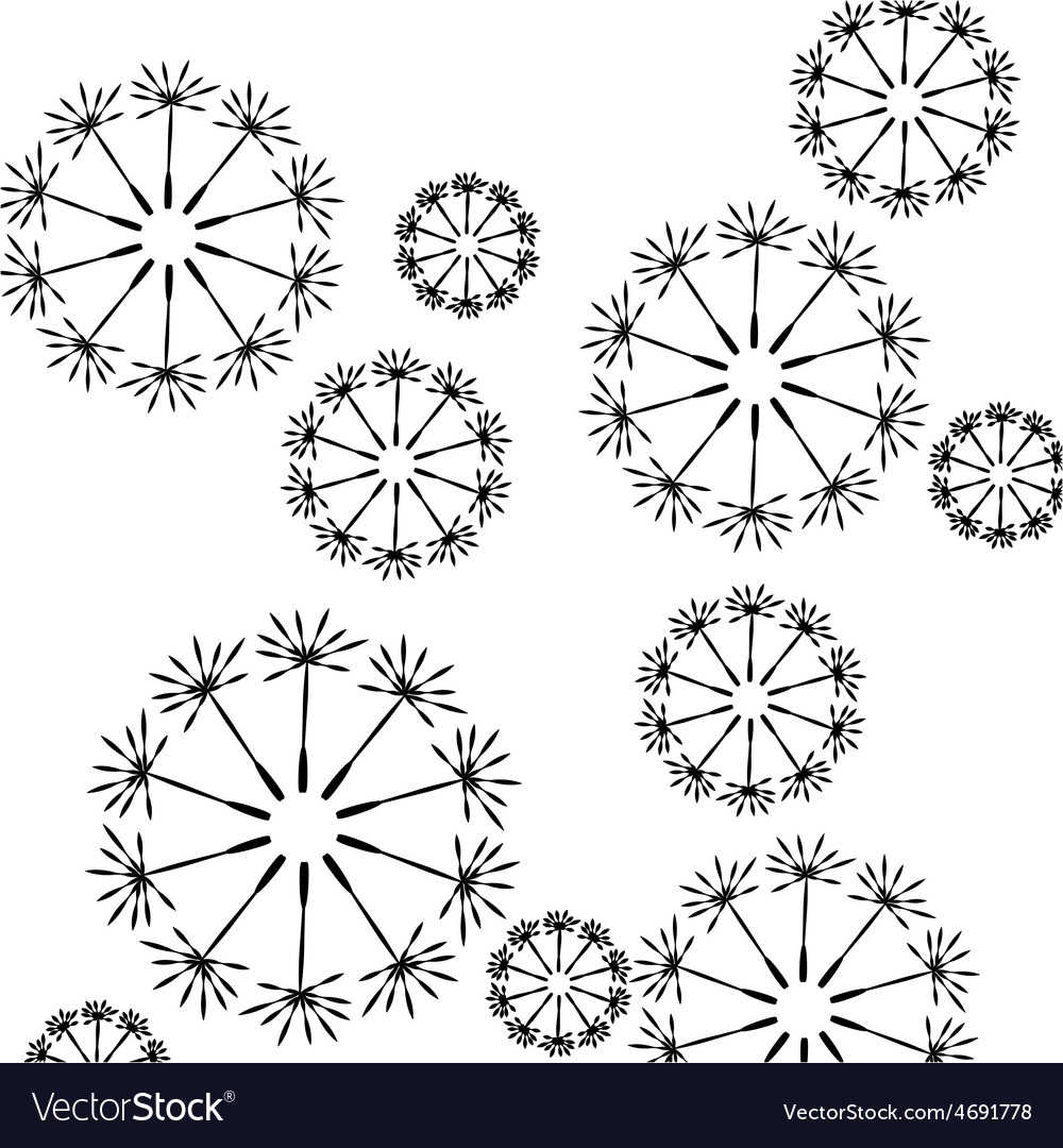 Seamless floral pattern of dandelion seeds vector | Price: 1 Credit (USD $1)