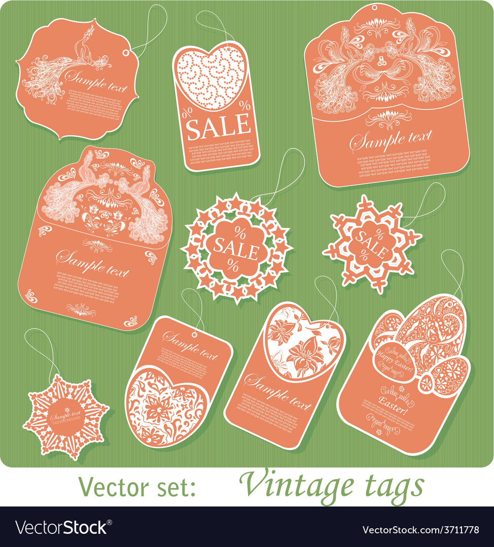 Set of ten vintage tags vector | Price: 1 Credit (USD $1)