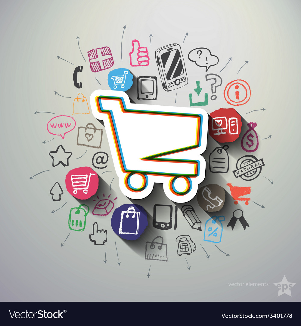 Shopping collage with icons background vector | Price: 1 Credit (USD $1)
