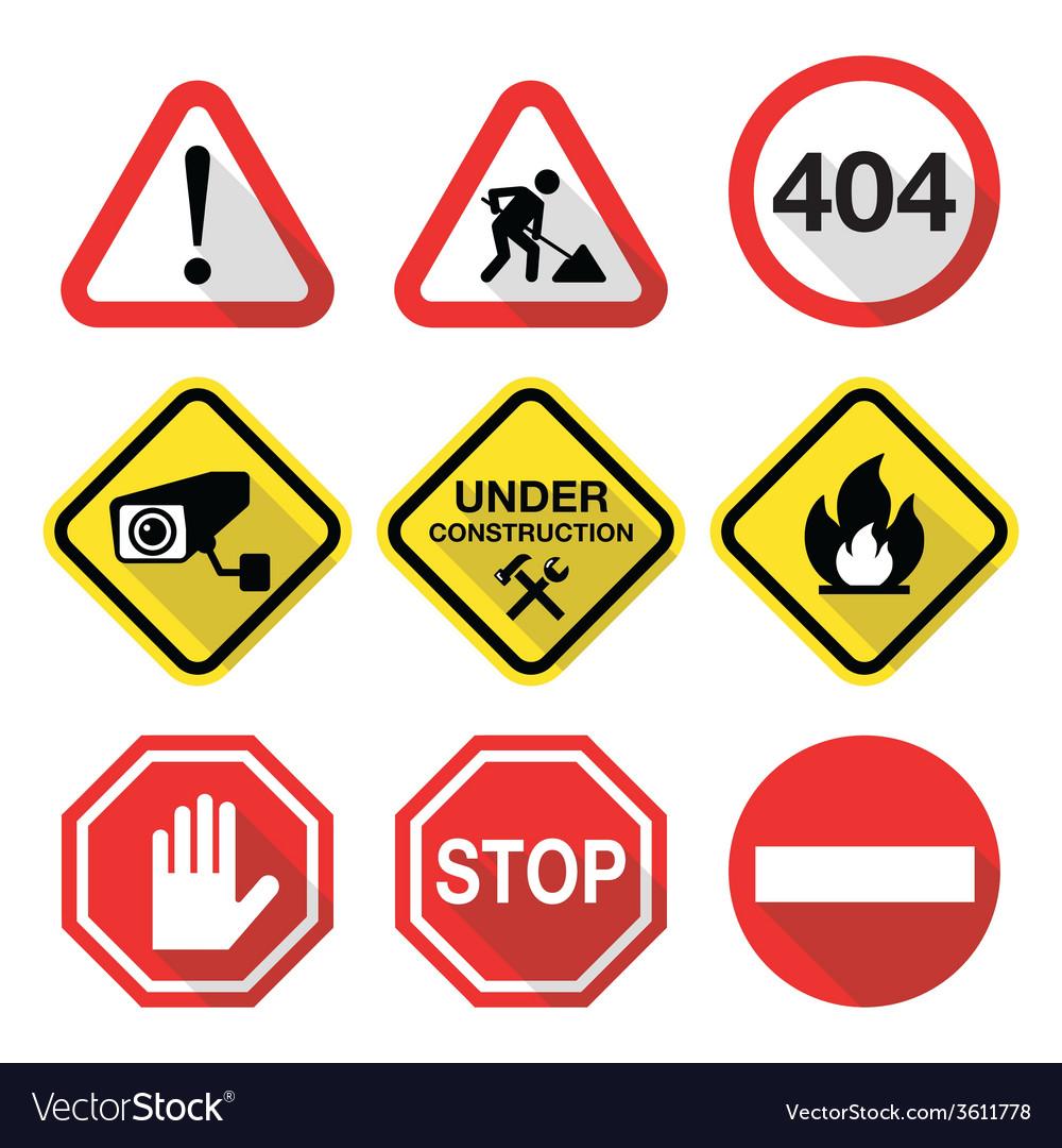 Warning signs - danger risk stress - flat design vector | Price: 1 Credit (USD $1)