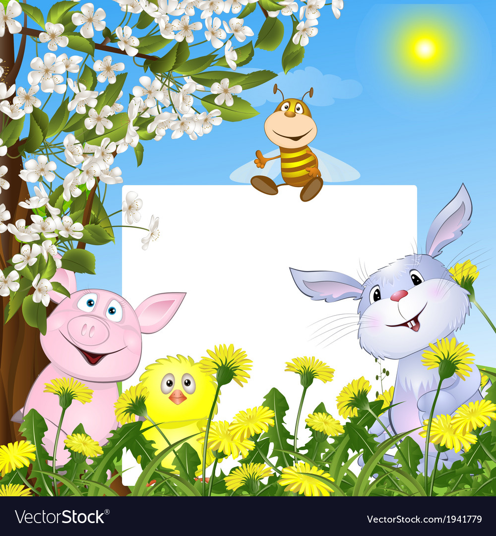 Animals with the poster against flowers and a vector | Price: 1 Credit (USD $1)
