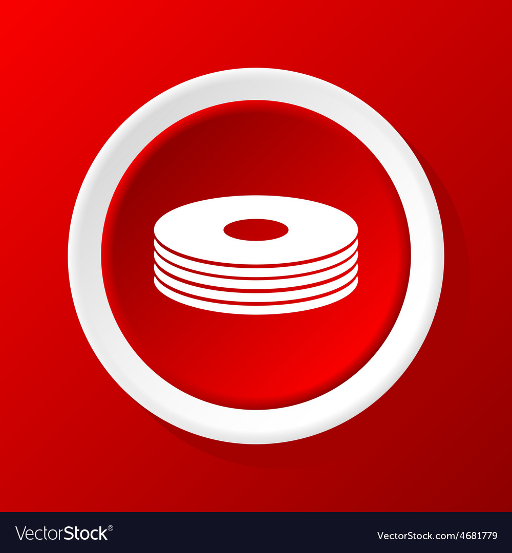 Disc pile icon on red vector | Price: 1 Credit (USD $1)