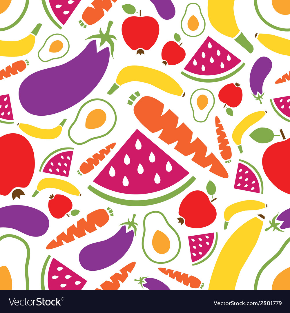 Fruits and vegetables seamless pattern vector | Price: 1 Credit (USD $1)
