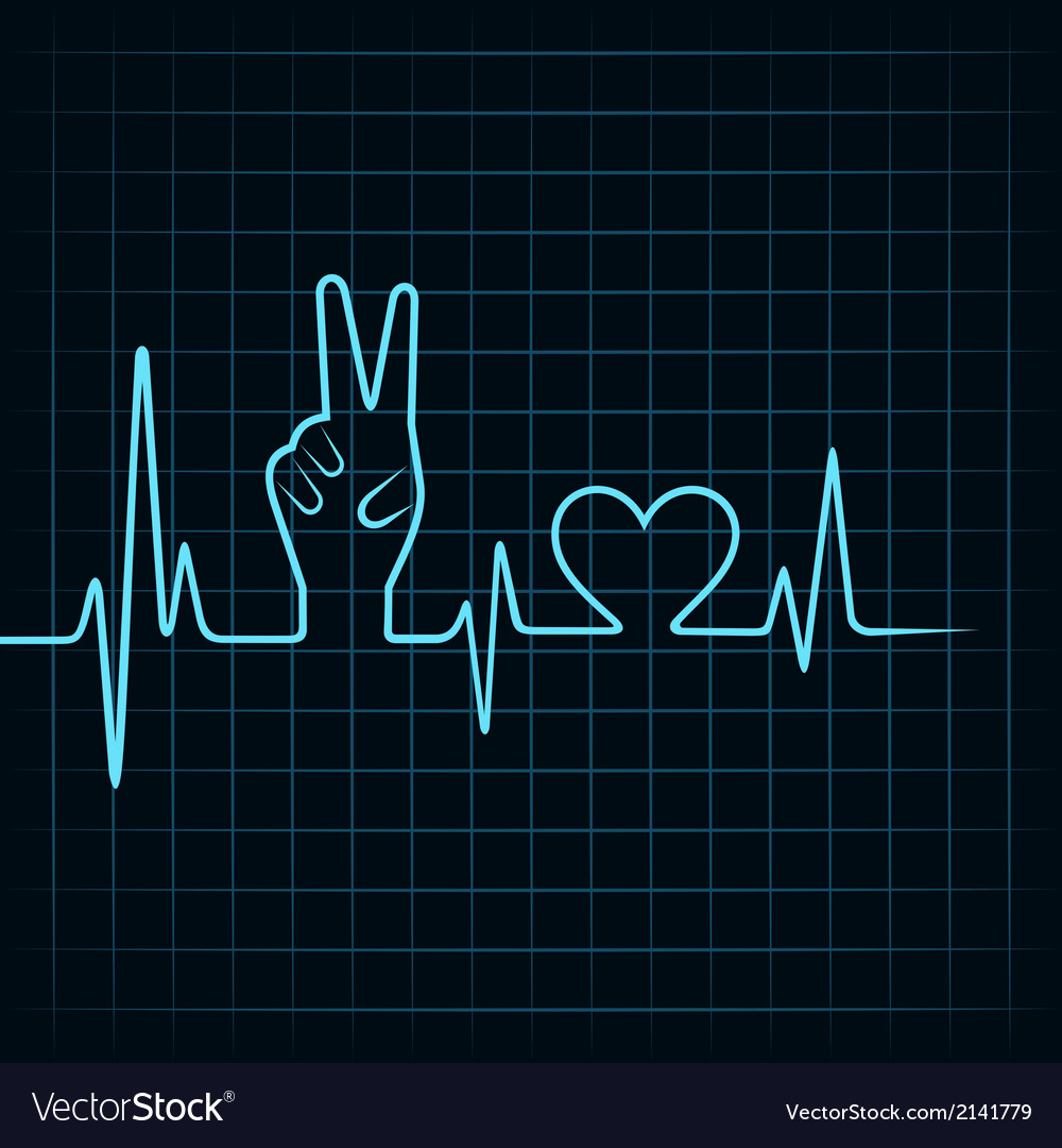 Heartbeat make victory hand and heart vector   Price: 1 Credit (USD $1)