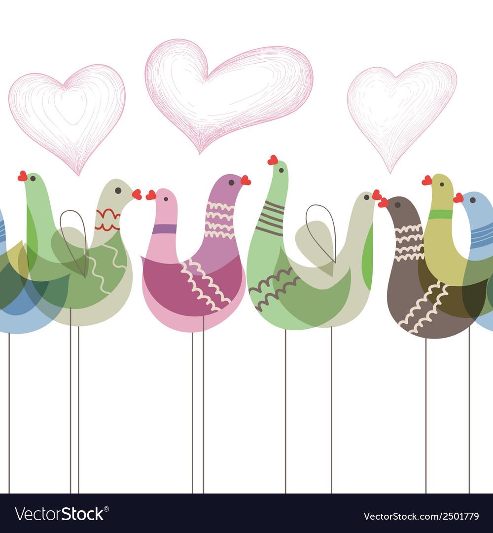 Love birds ornament seamless pattern vector | Price: 1 Credit (USD $1)
