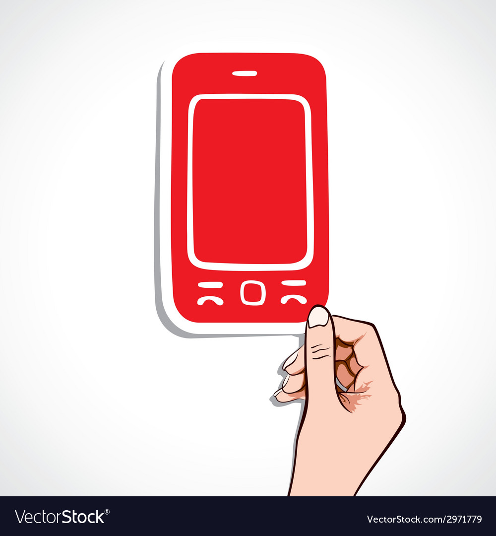 Red mobile sticker on hand vector | Price: 1 Credit (USD $1)