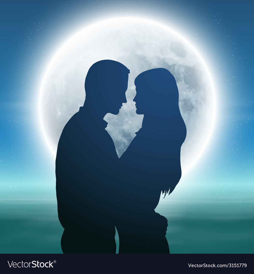 Sea with full moon and silhouette couple at night vector | Price: 1 Credit (USD $1)
