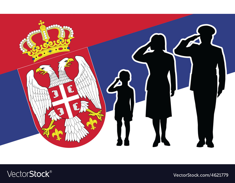 Serbia soldier family salute vector | Price: 1 Credit (USD $1)