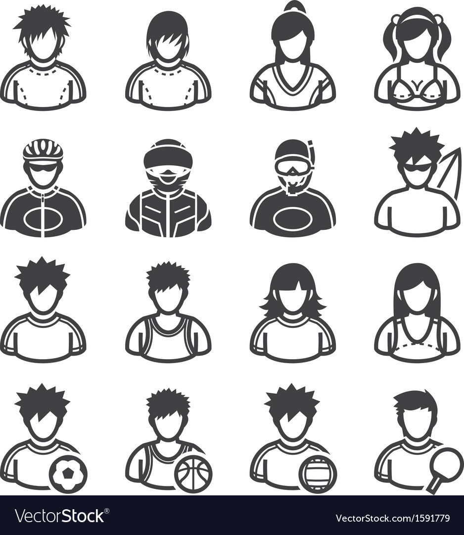 Sport and activity people icons vector | Price: 1 Credit (USD $1)
