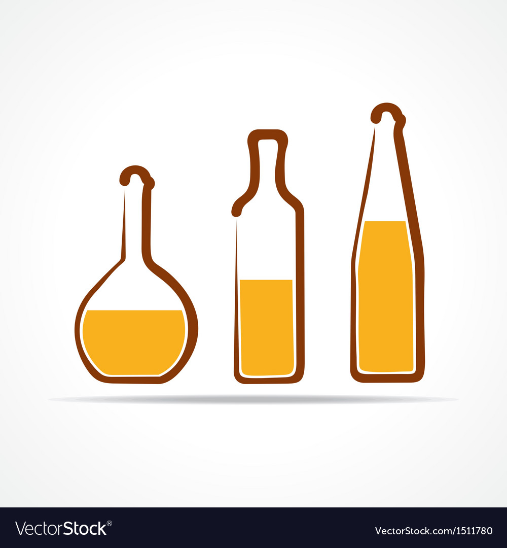 Abstract yellow wine bottles vector | Price: 1 Credit (USD $1)