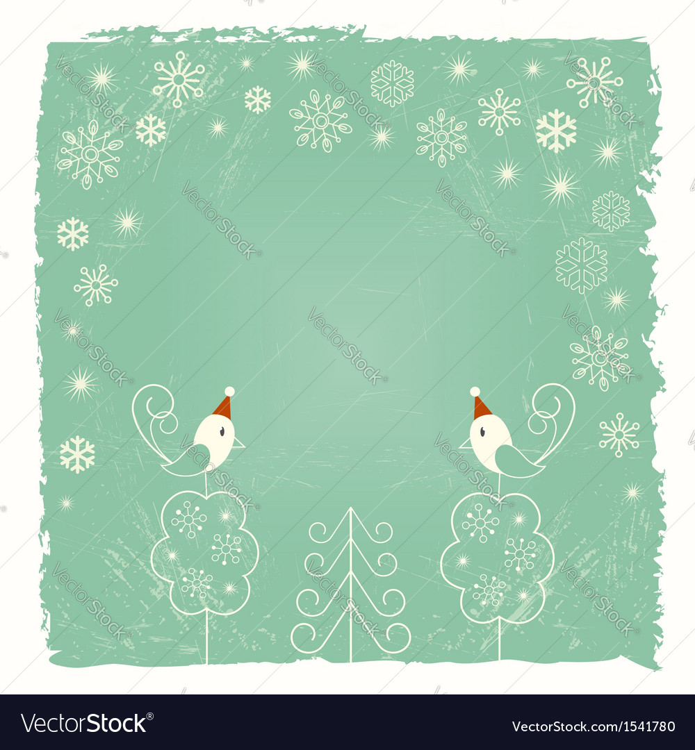 Christmas card with snowflakes and birds vector | Price:  Credit (USD $)