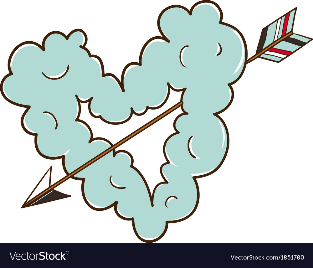 Cloud heart with arrow vector | Price: 1 Credit (USD $1)