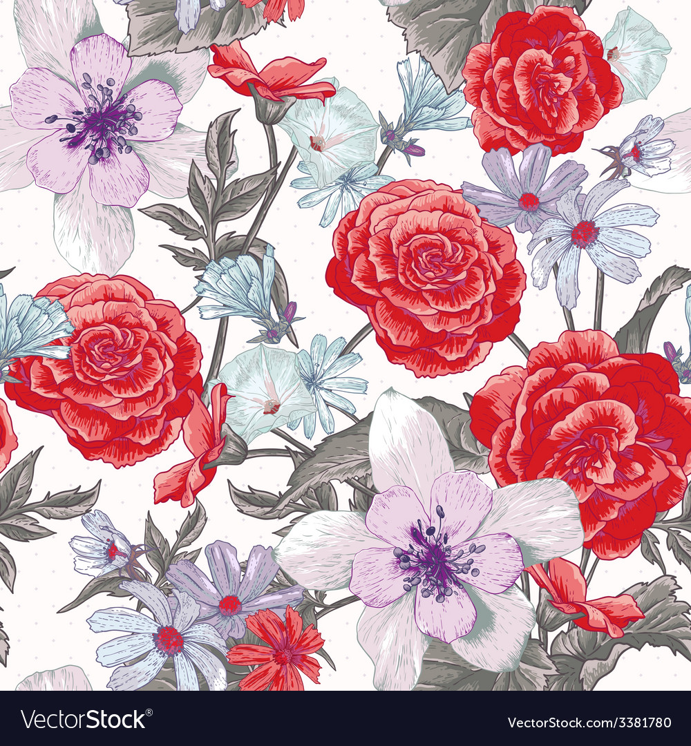 Colorful seamless floral pattern with wildflowers vector | Price: 1 Credit (USD $1)