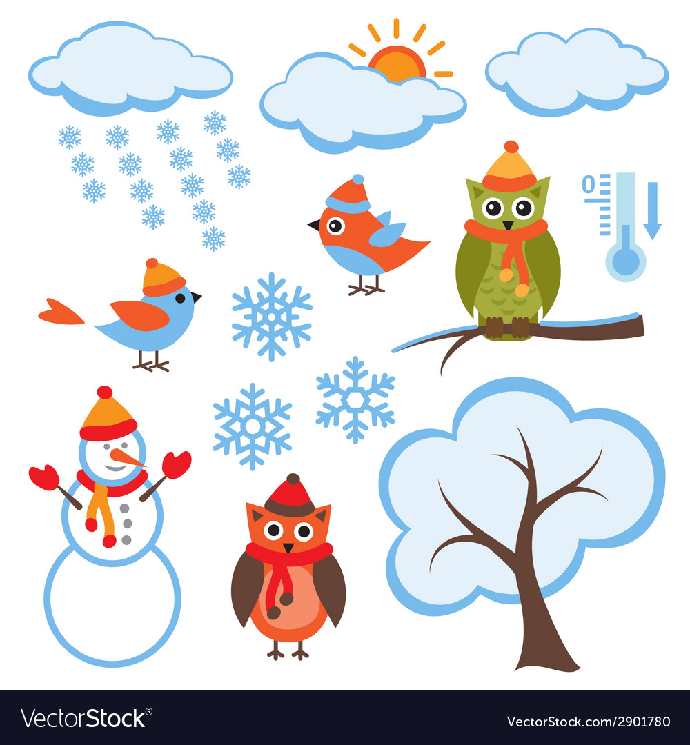 Cute winter set vector | Price: 1 Credit (USD $1)