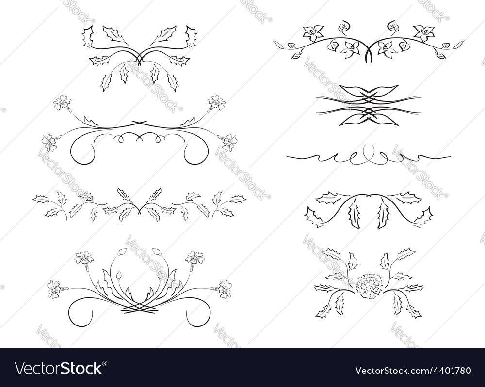 Dividers - elements with flowers vector | Price: 1 Credit (USD $1)