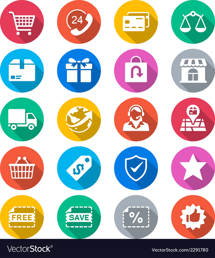 E-commerce flat color icons vector | Price: 1 Credit (USD $1)