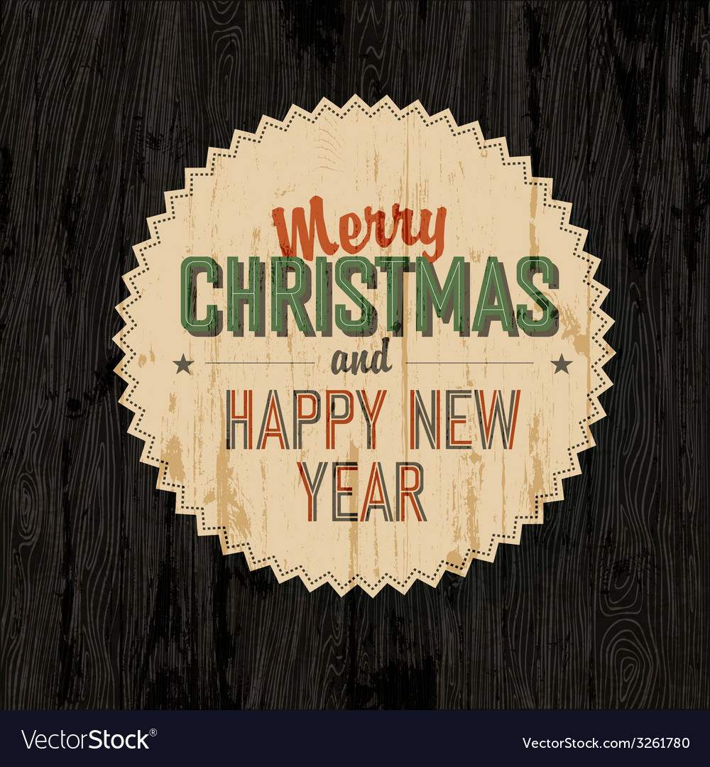 Merry xmas design on wooden background vector | Price: 1 Credit (USD $1)