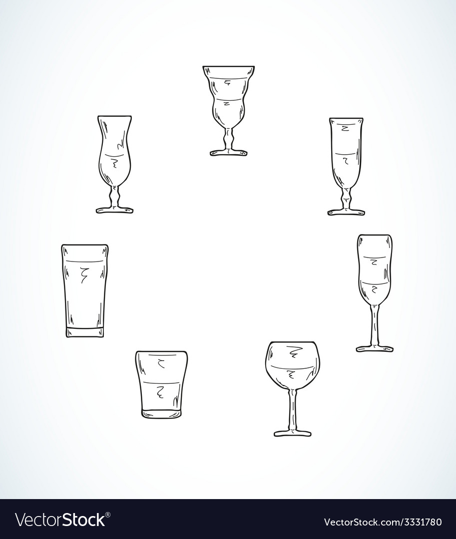 Sketch of glasses for water or alcohol vector | Price: 1 Credit (USD $1)