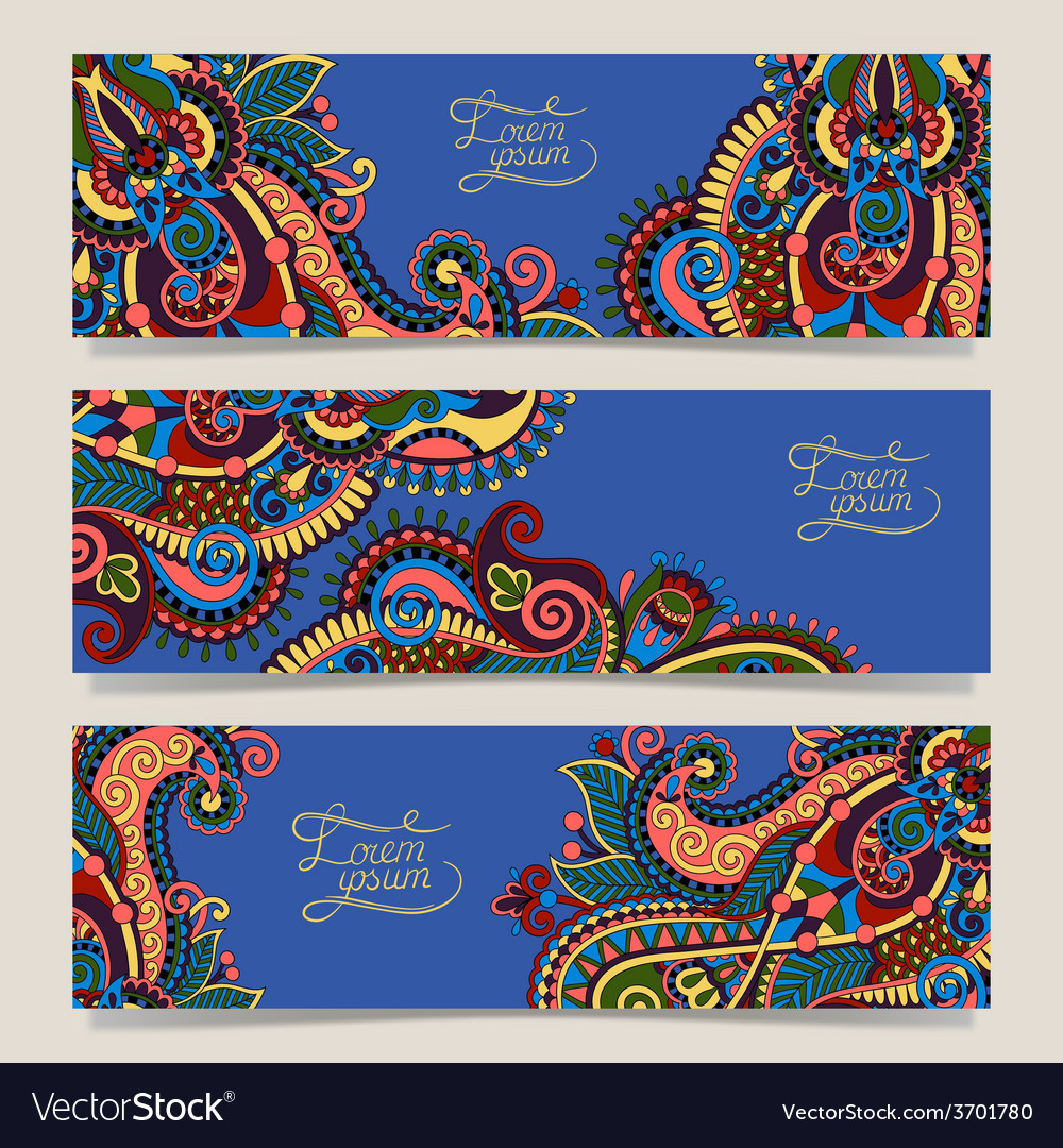 Three horizontal banners with decorative vector | Price: 1 Credit (USD $1)