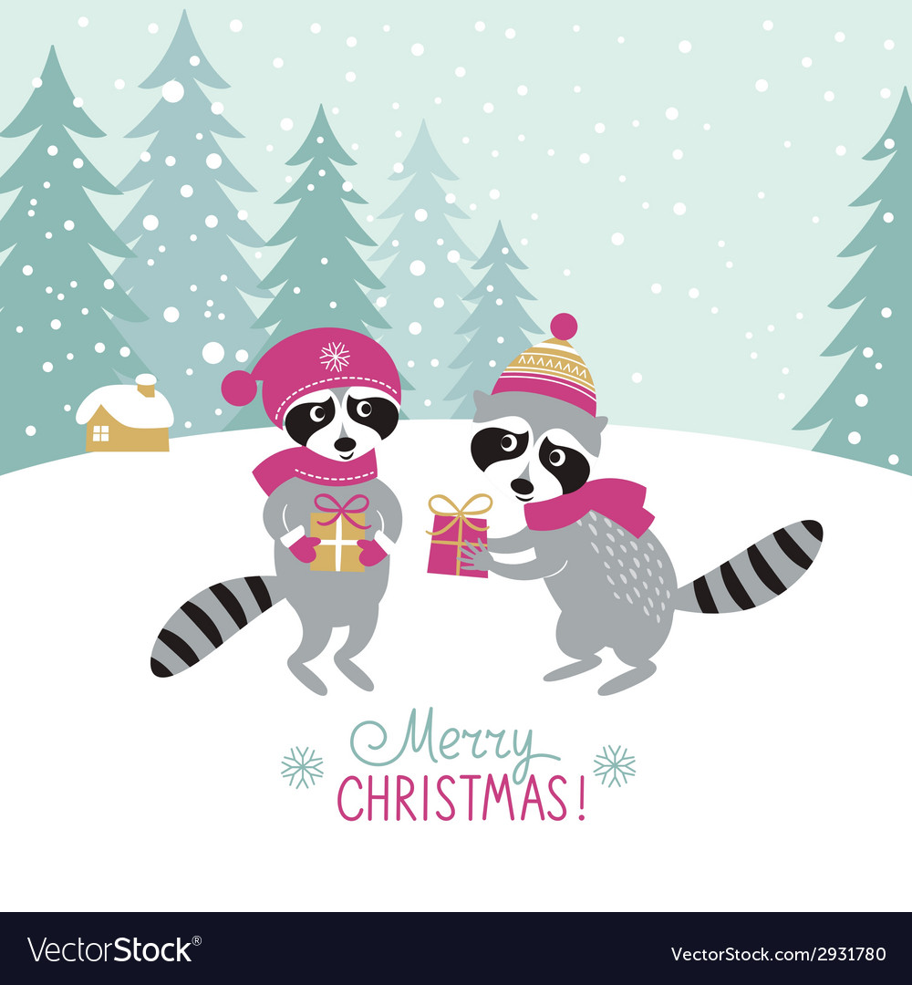 Two cute raccoons with a gifts vector | Price: 1 Credit (USD $1)