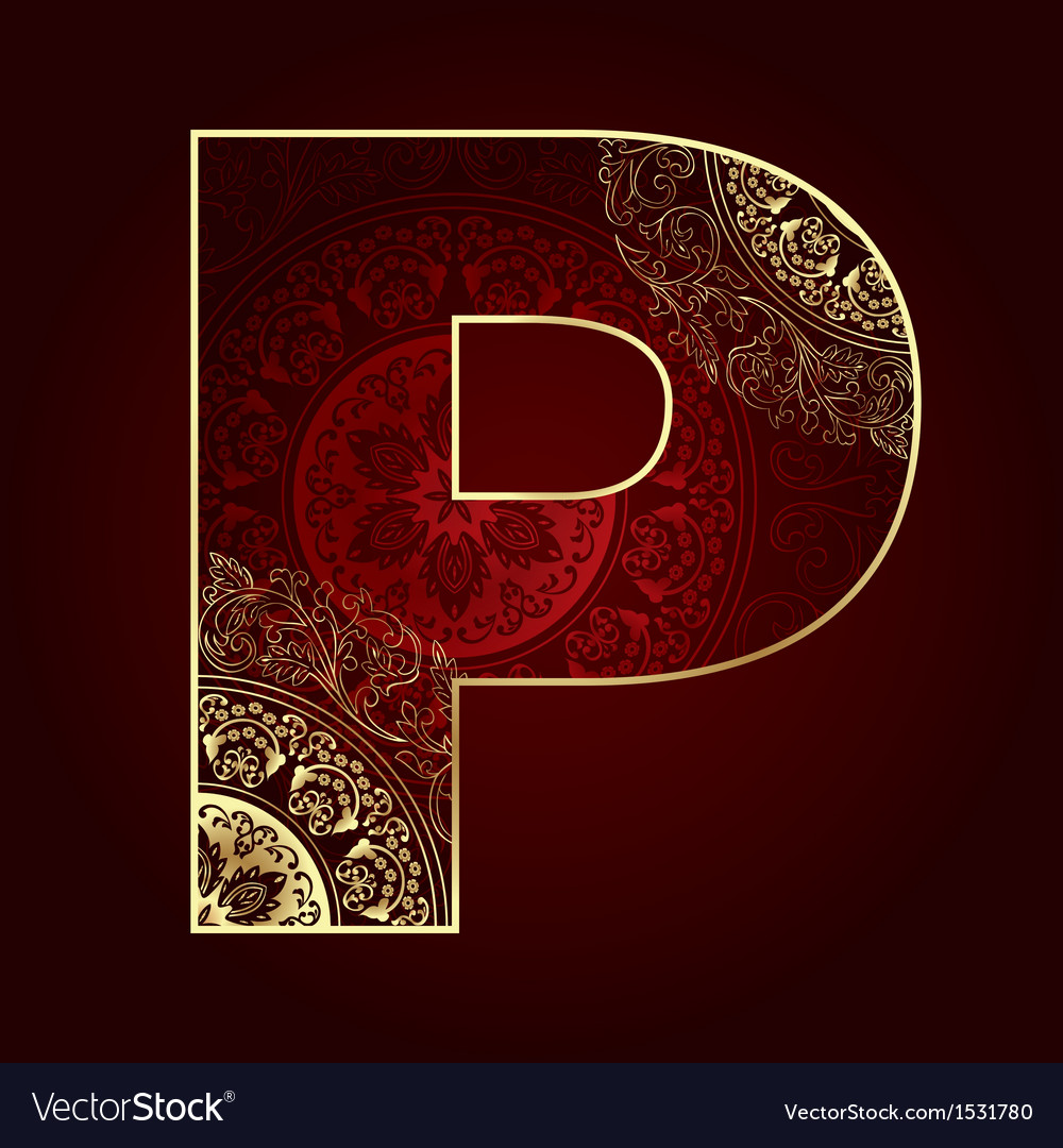 Vintage alphabet with floral swirls letter p vector | Price: 1 Credit (USD $1)