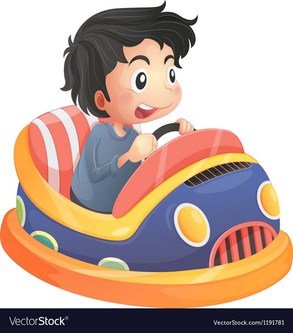 A child riding in a bumpcar vector | Price: 1 Credit (USD $1)