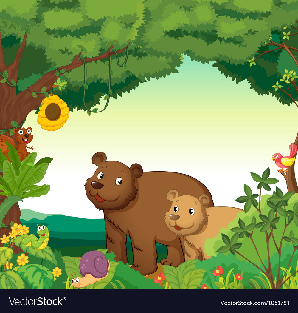 Animals in the forest vector | Price: 3 Credit (USD $3)