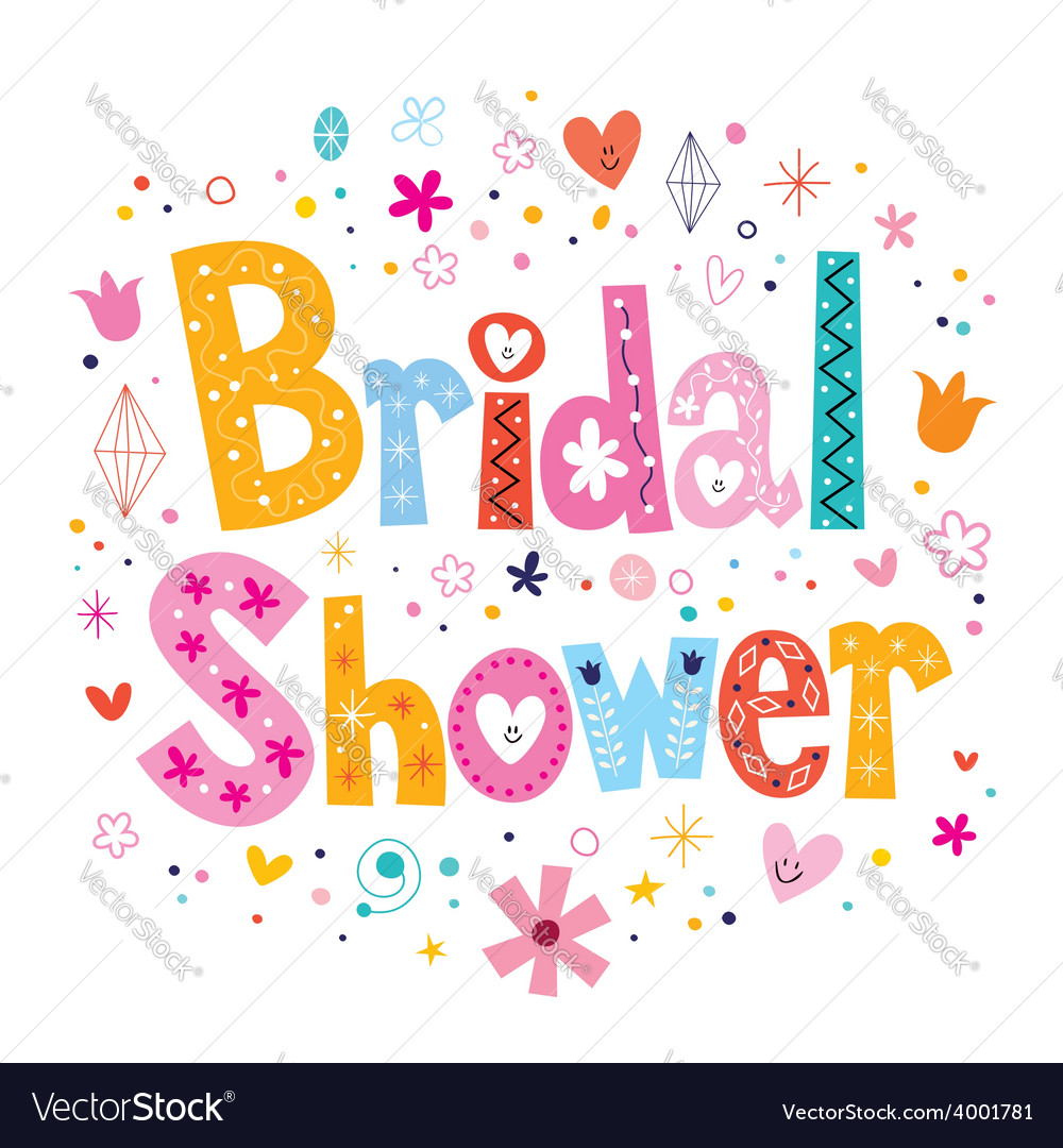 Bridal shower card lettering decorative type vector | Price: 1 Credit (USD $1)