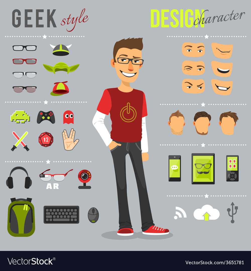 Geek style set vector | Price: 1 Credit (USD $1)