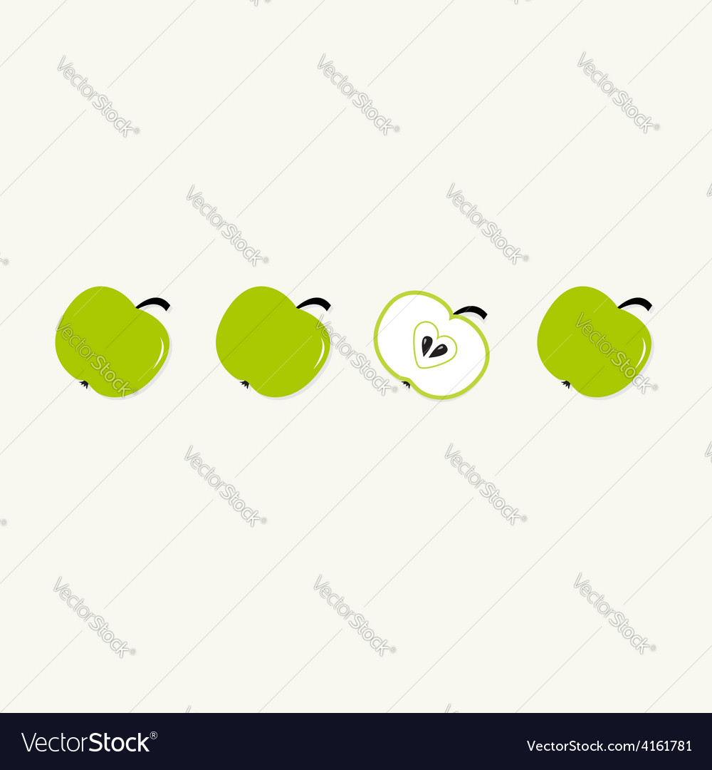 Green apple set in a row whole and half with vector | Price: 1 Credit (USD $1)