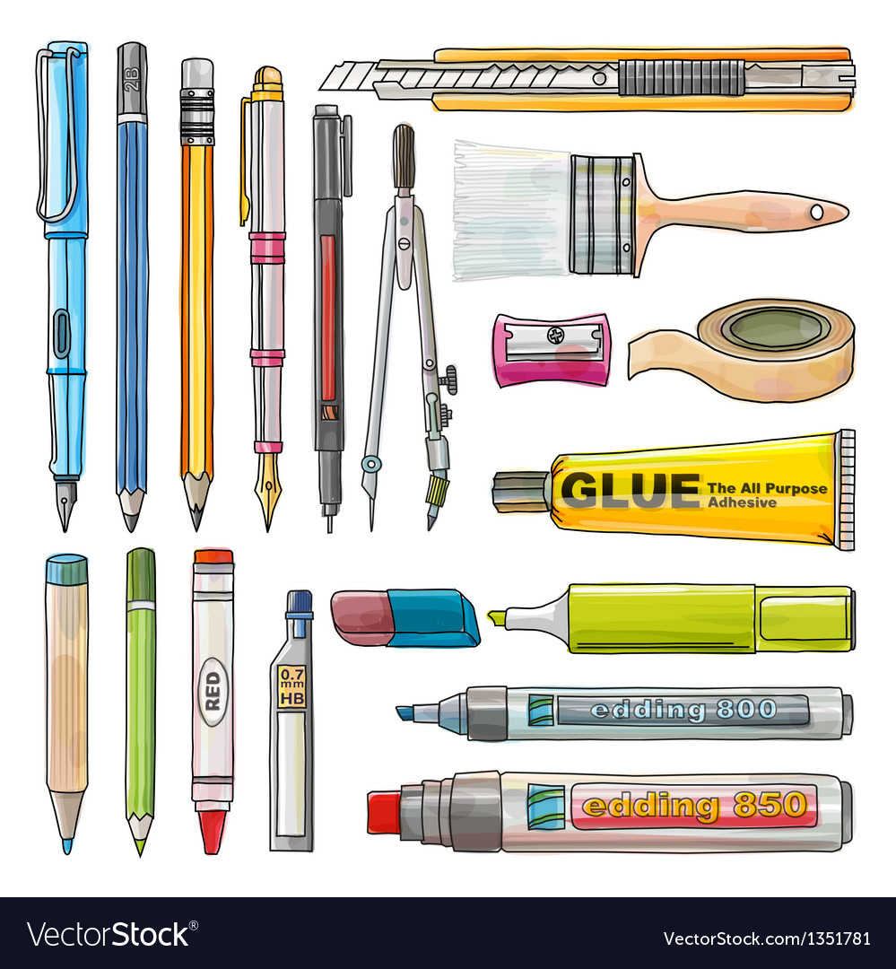 Office supplies isolate background vector | Price: 3 Credit (USD $3)