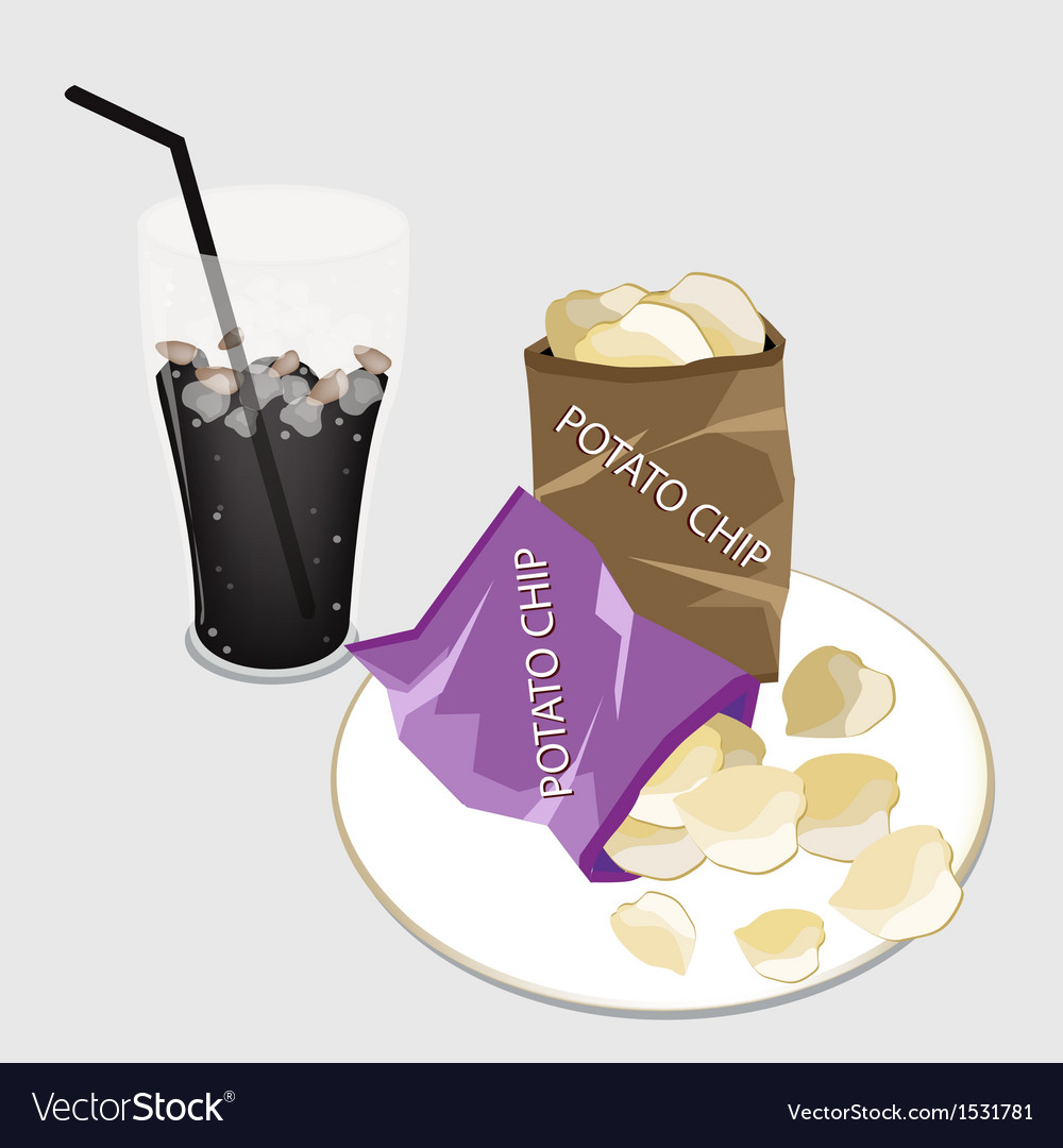 Open bag of chips with a delicious iced coffee vector | Price: 1 Credit (USD $1)