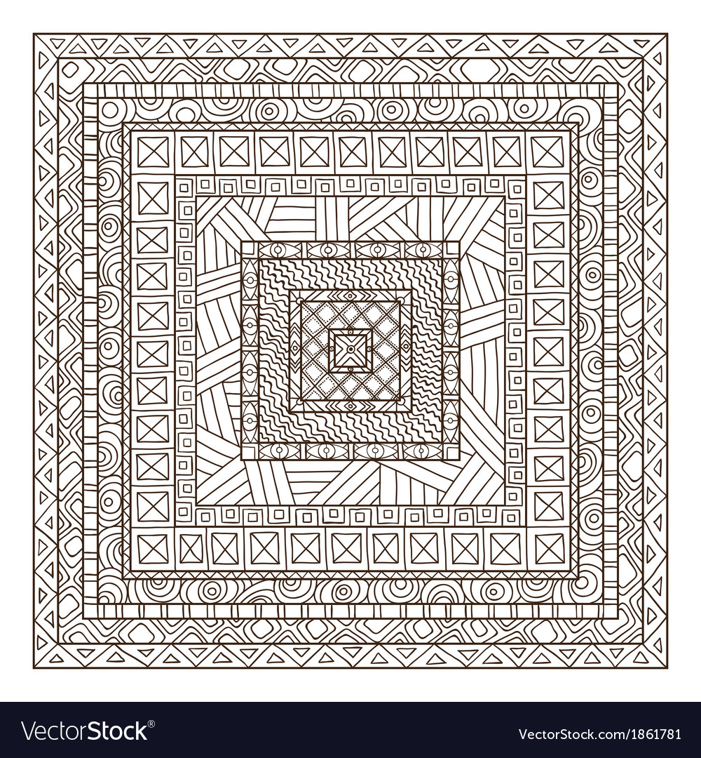 Original drawing tribal doddle rectangle vector | Price: 1 Credit (USD $1)