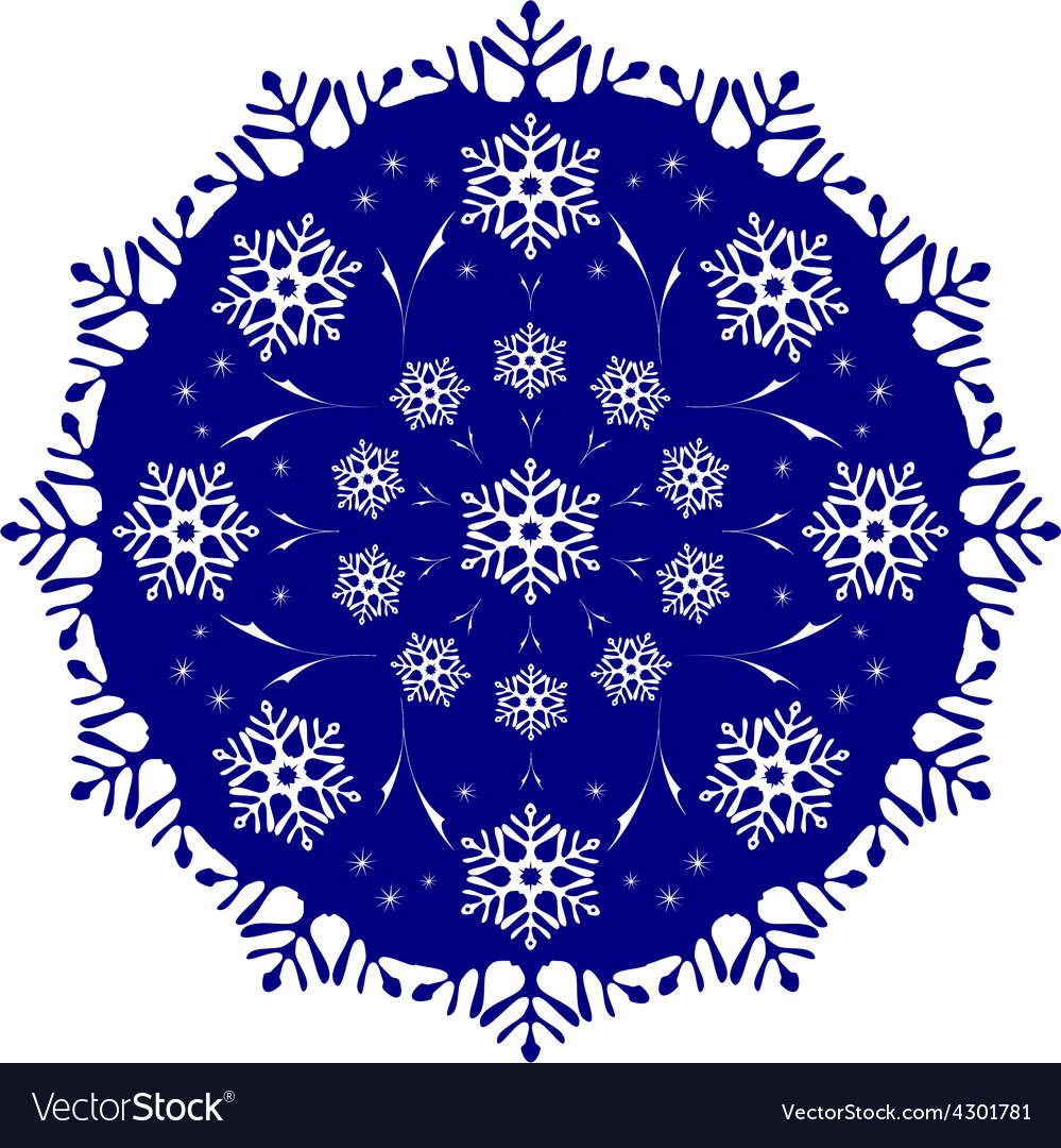 The tracery of snowflakes in the circle frosty vector | Price: 1 Credit (USD $1)