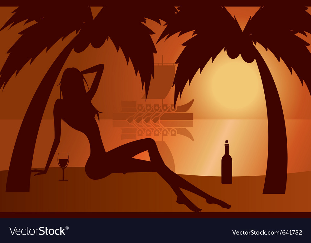 Beautiful woman silhouette on a beach vector | Price: 1 Credit (USD $1)