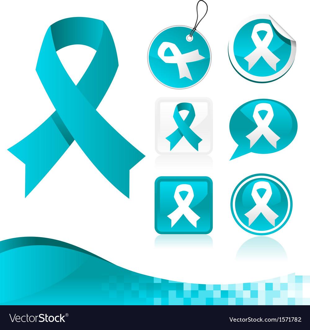 Blue ribbons awareness kit vector | Price: 1 Credit (USD $1)
