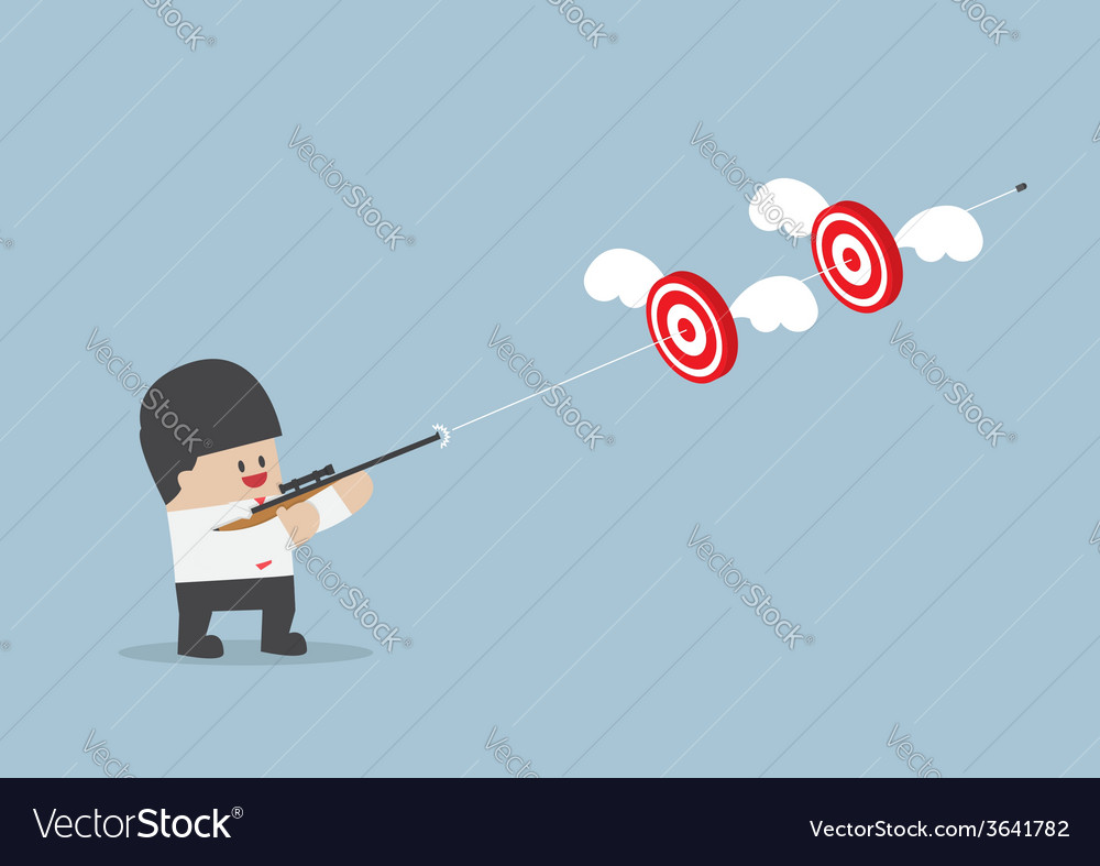 Businessman shoot two targets with one bullet vector | Price: 1 Credit (USD $1)