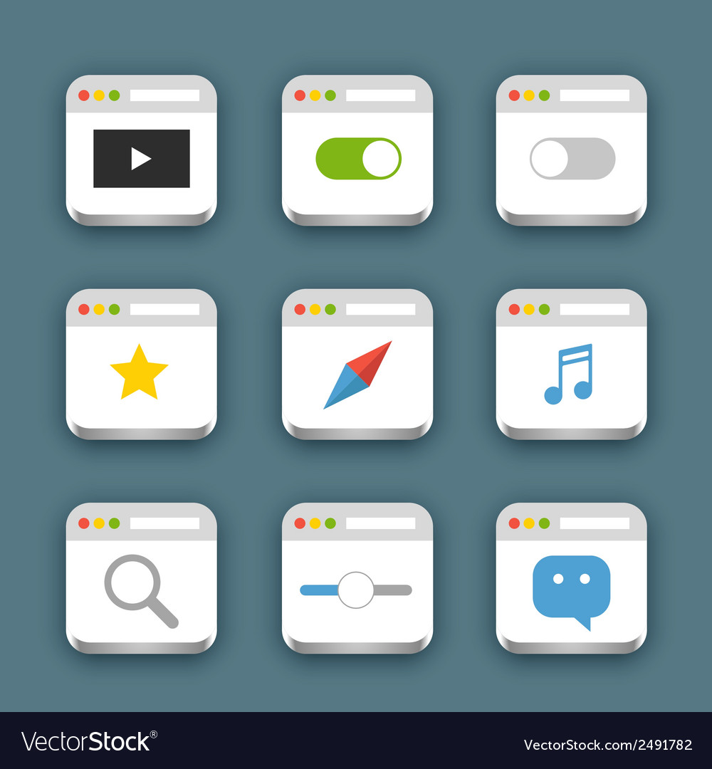 Different web icons set with rounded corners vector | Price: 1 Credit (USD $1)