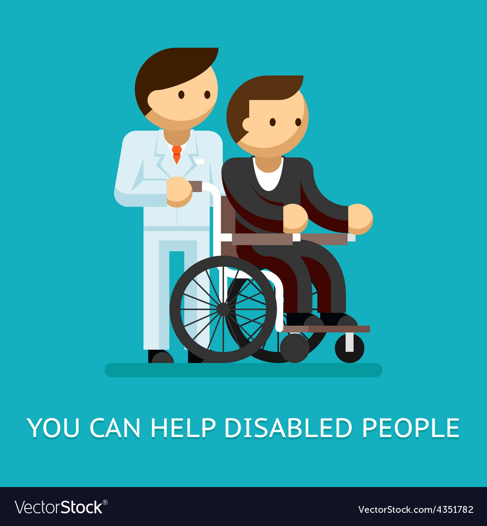 Disabled people help concept vector | Price: 1 Credit (USD $1)
