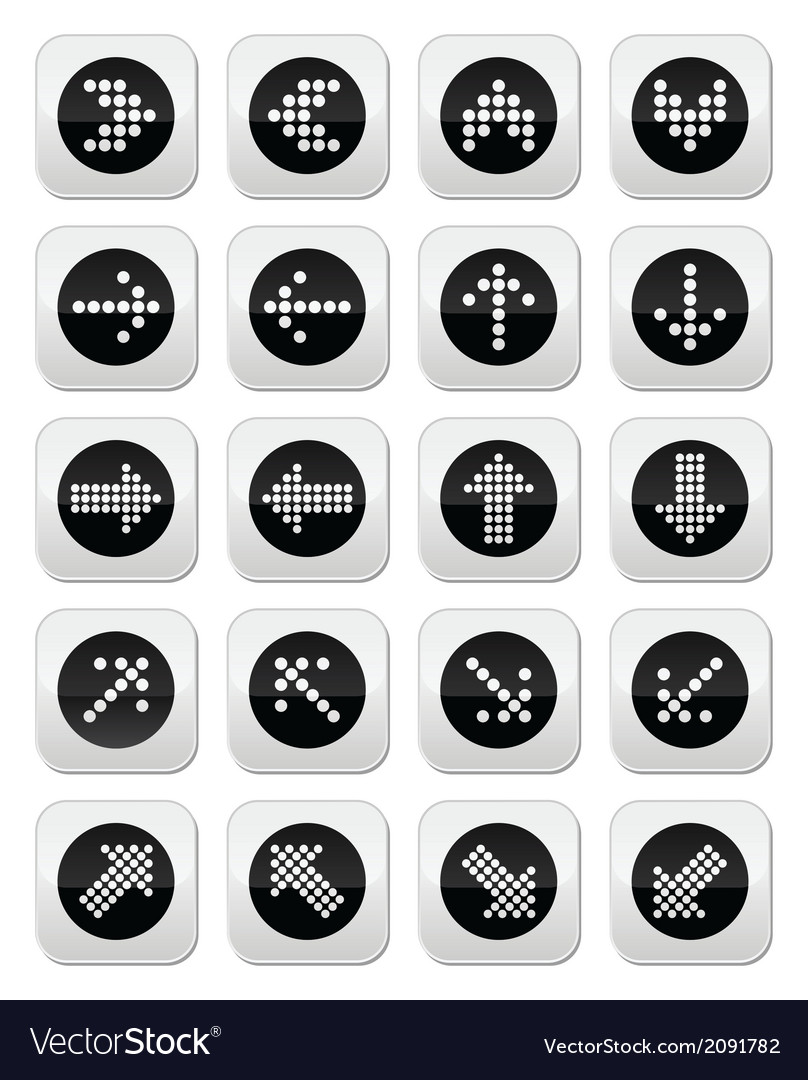 Dotted arrows round icons set isolated on white vector | Price: 1 Credit (USD $1)