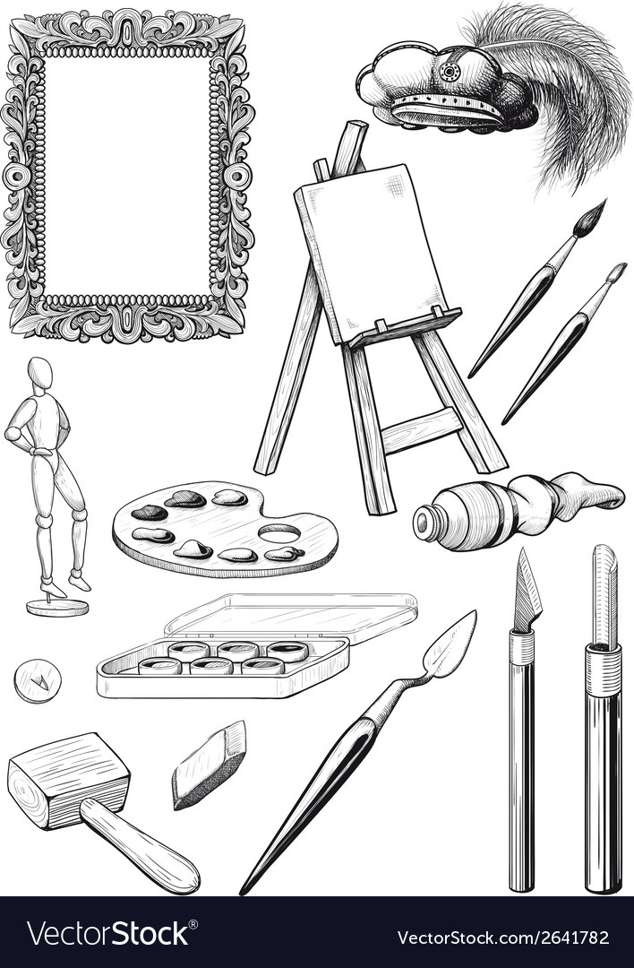 Fine art set vector | Price: 1 Credit (USD $1)
