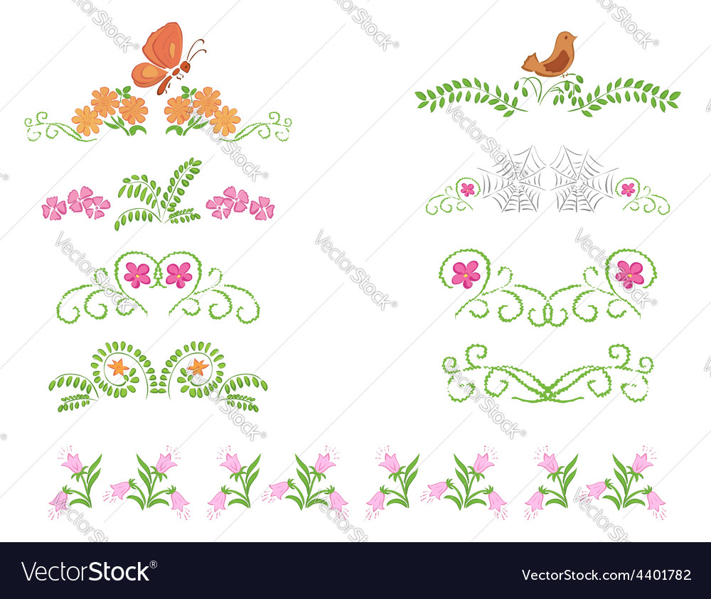 Floral decorative dividers - set vector | Price: 1 Credit (USD $1)