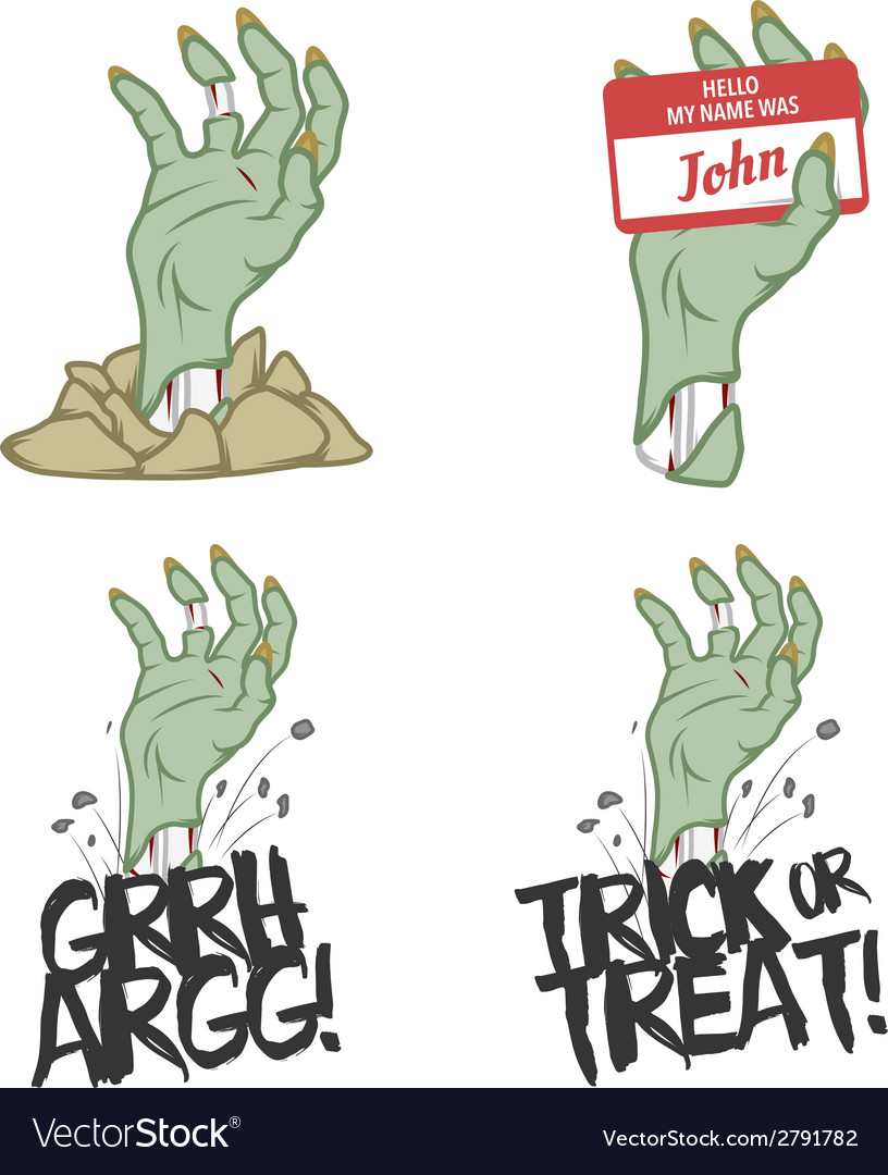 Funny halloween zombie hand design elements vector | Price: 1 Credit (USD $1)