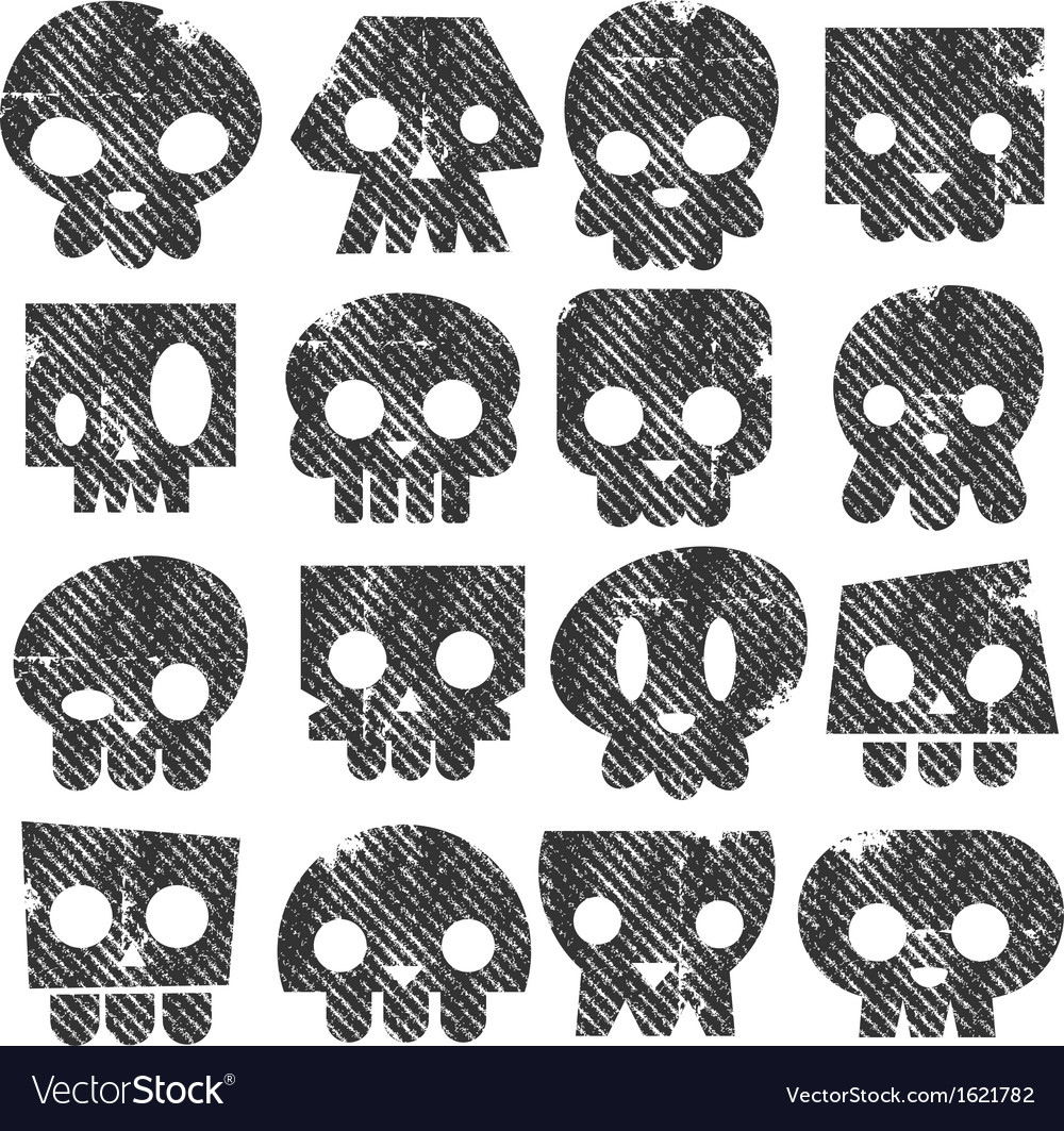 Grunge skull stamps icons vector | Price: 1 Credit (USD $1)