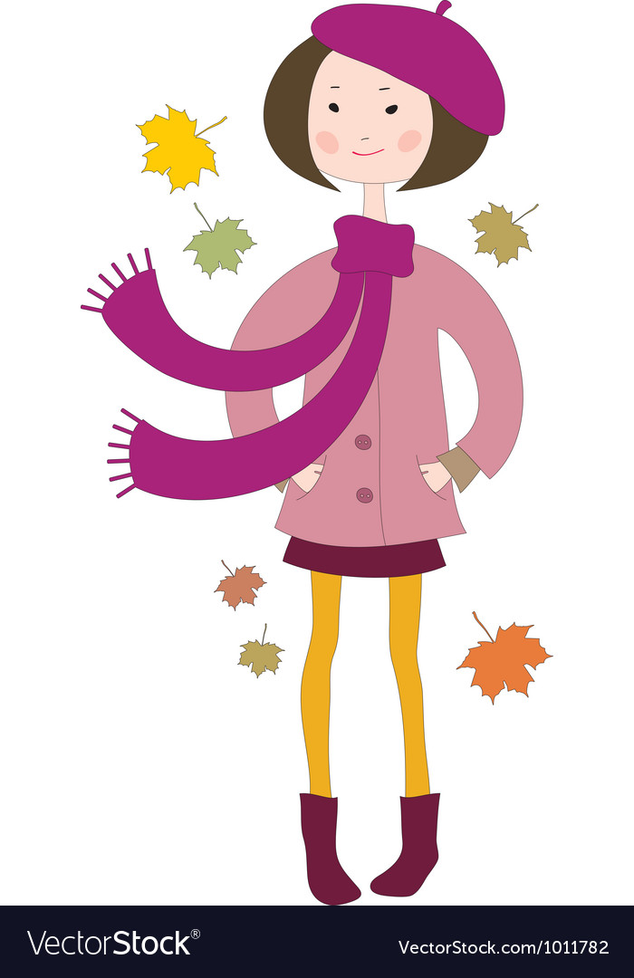 Hand drawn little girl in a coat with a scarf vector | Price: 1 Credit (USD $1)