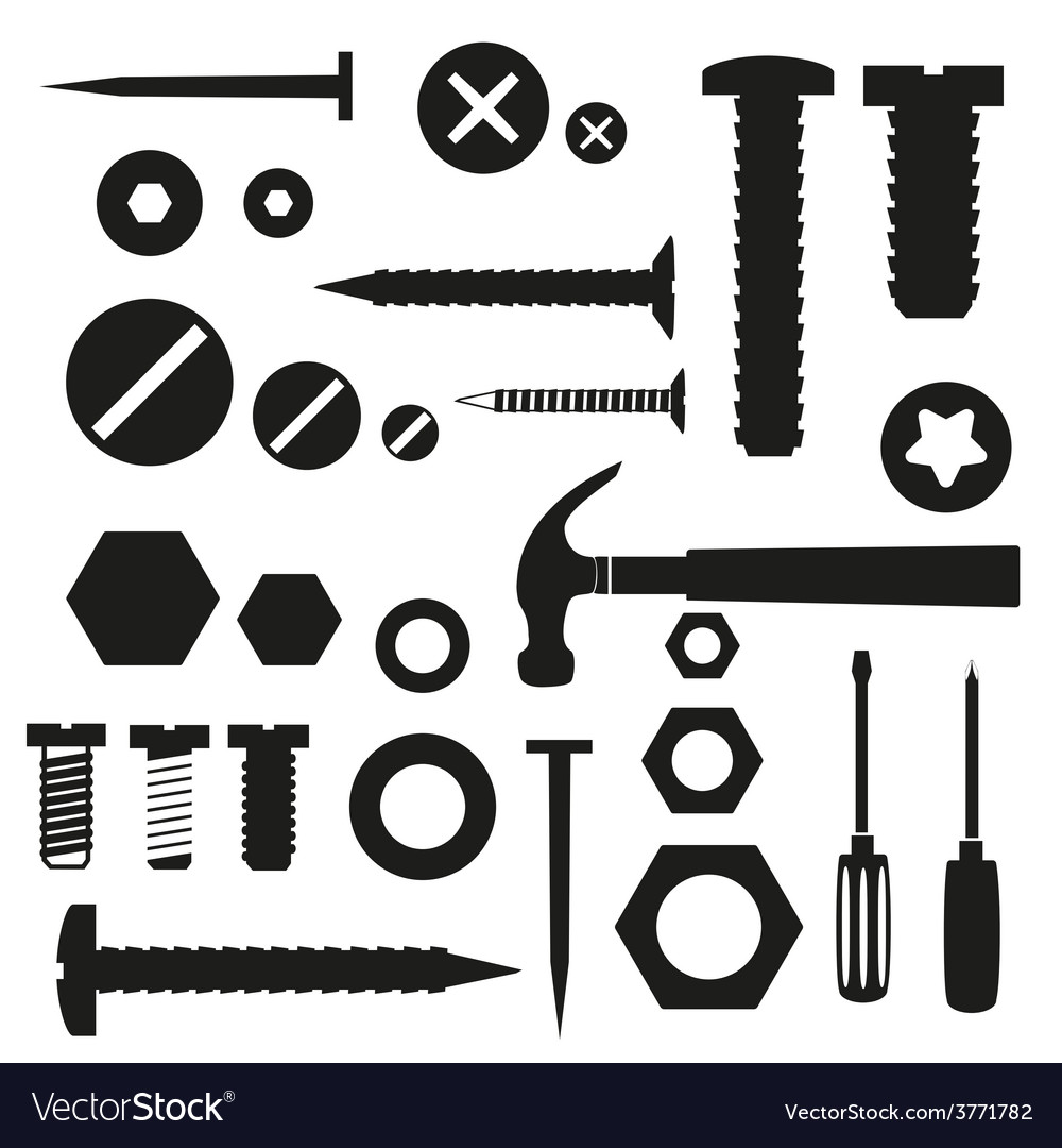 Hardware screws and nails with tools symbols eps10 vector | Price: 1 Credit (USD $1)