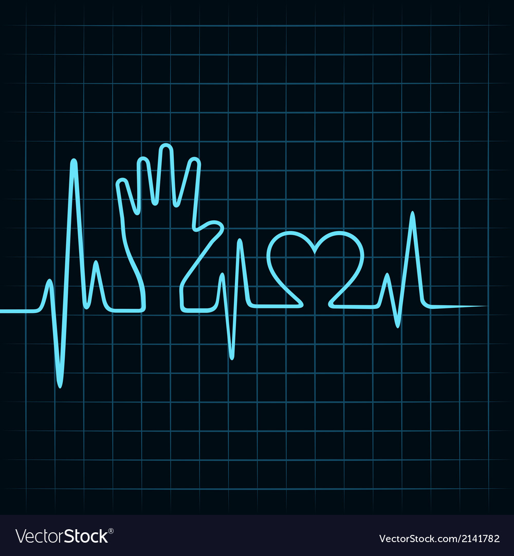 Heartbeat make helping hand and heart stock vector | Price: 1 Credit (USD $1)
