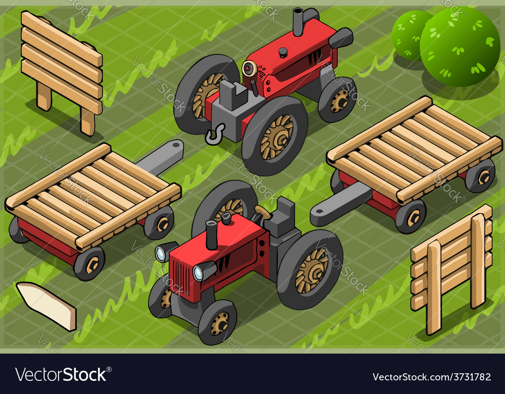 Isometric red farm tractor in two positions vector | Price: 3 Credit (USD $3)
